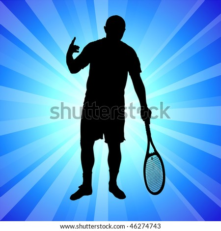 Tennis Player on Abstract Blue Background Original Vector Illustration