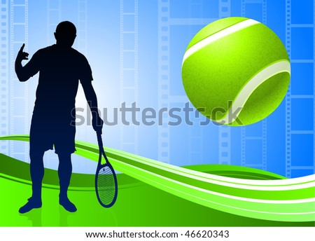 Tennis Player on Abstract Film Reel Background Original Vector Illustration