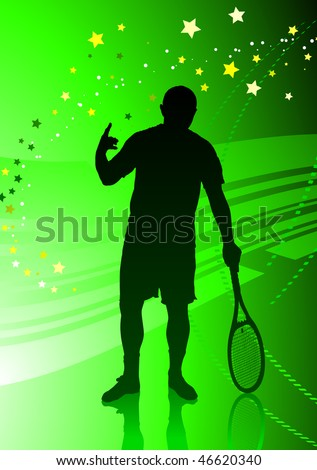 Tennis Player on Abstract Green Background Original Vector Illustration