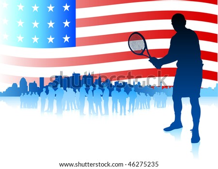 Tennis Player on American Flag Background Original Vector Illustration