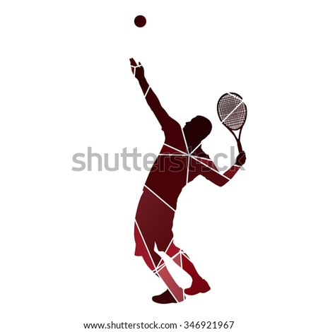 Tennis player serve. Red abstract vector silhouette