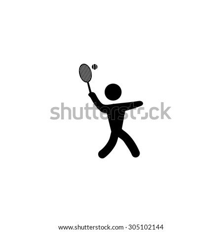 Tennis player, silhouette. Black simple vector icon - stock vector