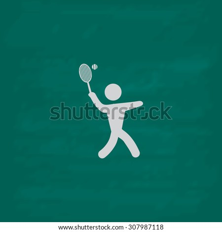 Tennis player, silhouette. Icon. Imitation draw with white chalk on green chalkboard. Flat Pictogram and School board background. Vector illustration symbol - stock vector