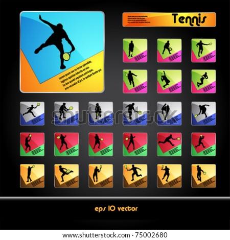 Tennis player silhouettes button set - stock vector