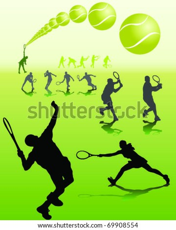 tennis player silhouettes with shadows on green background - stock vector