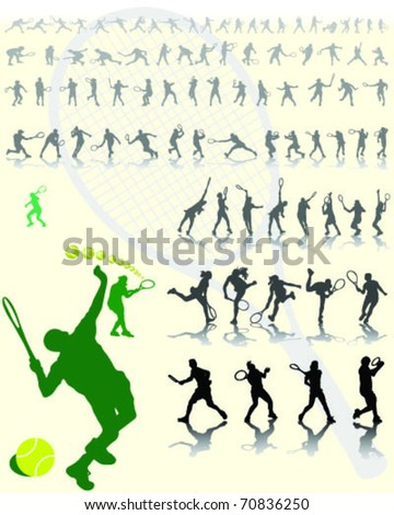 tennis player silhouettes with shadows on yellow background