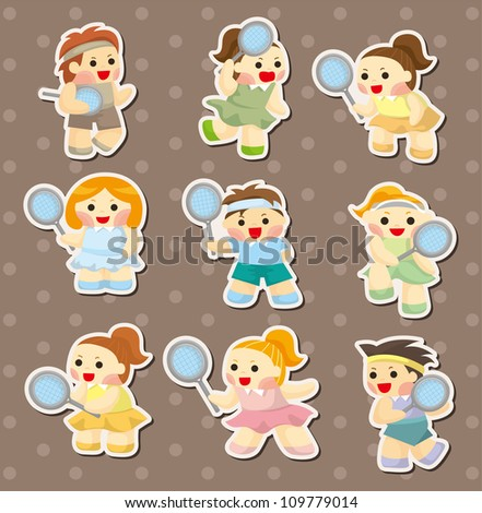 tennis player stickers - stock vector