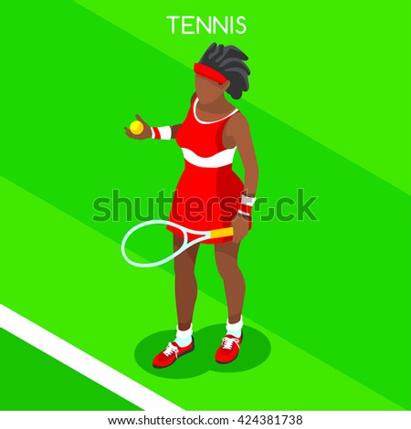 Tennis Player 2016 Summer Games Icon Set. 3D Isometric Tennis Player. Sporting Championship International Tennis Match Competition. Sport Infographic olympics Tennis Vector Illustration. - stock vector
