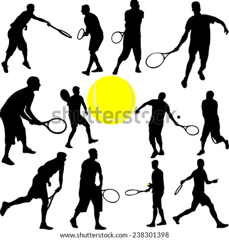 tennis players collection - vector - stock vector