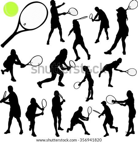 Tennis Players Silhouettes - Vector - stock vector
