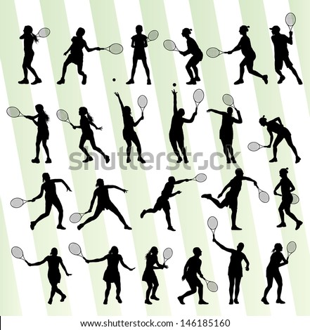 Tennis players silhouettes vector background concept set - stock vector