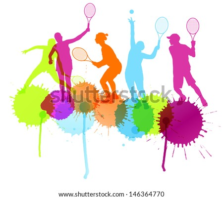 Tennis players silhouettes vector background concept with ink splashes - stock vector