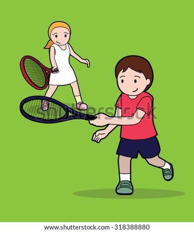 Tennis Pose Stroke Cartoon Vector Illustration 4 - stock vector