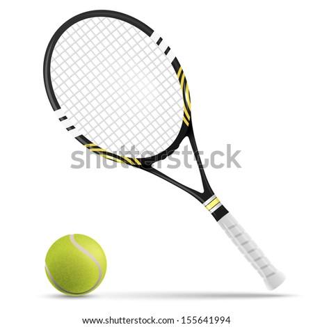 Tennis racket and ball - stock vector