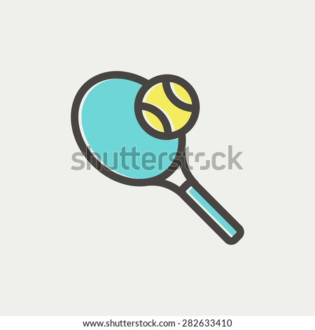 Tennis racket and ball icon thin line for web and mobile, modern minimalistic flat design. Vector icon with dark grey outline and offset colour on light grey background. - stock vector
