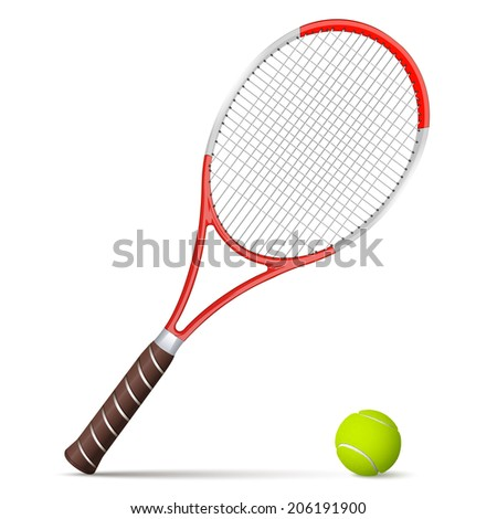 Tennis racket and ball isolated on white background. Vector illustration