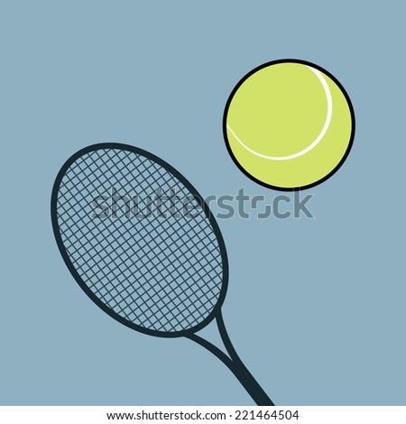 Tennis racket and ball. Isolated on white background. Vector illustration, eps 8.
