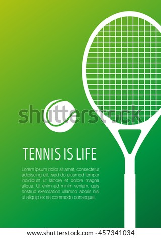 Tennis racket and ball, modern minimalistic flat design. Vector white icon on gradient  background.