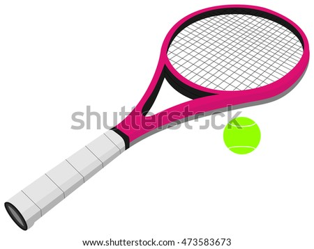 Tennis racket and balls vector illustration