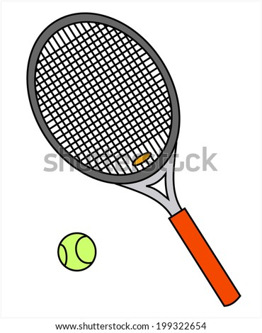 Tennis racket and green ball, vector art image illustration, isolated on white background. eps10 - stock vector