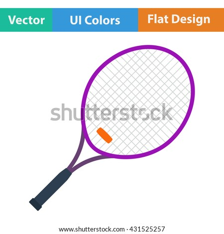 Tennis racket icon. Flat design. Vector illustration.