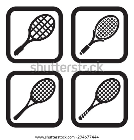 Tennis racket icon in four variations - stock vector