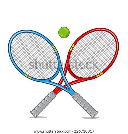 Tennis racket isolated on white. Bright cartoon sports element. Eps 10 vector illustration.