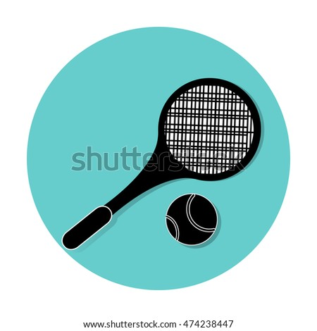 tennis racket  on Blue background
