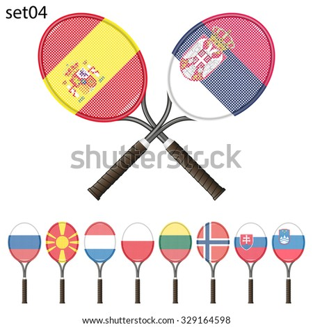 Tennis racket painted in the colors of the flag different countries. Vector Illustration isolated on white background - stock vector