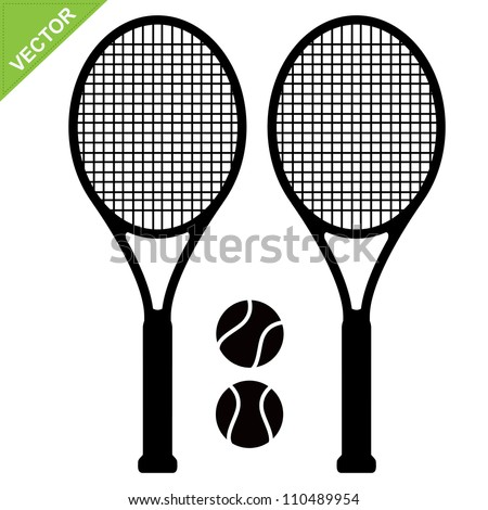 Tennis racket silhouettes vector - stock vector