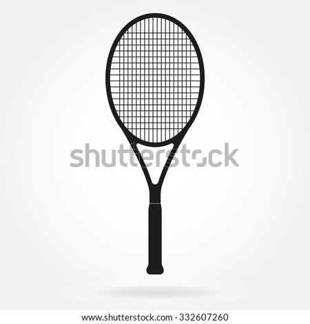 Tennis racket. Vector icon of tennis racket in flat style. - stock vector
