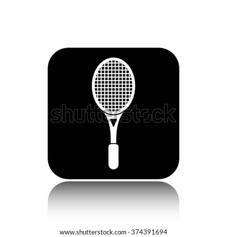 tennis racket vector icon on black button with reflection - stock vector