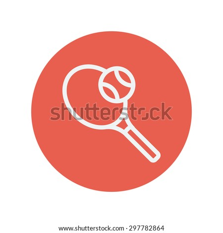 Tennis racket with ball thin line icon for web and mobile minimalistic flat design. Vector white icon inside the red circle. - stock vector