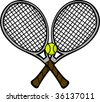 tennis rackets and ball - stock vector