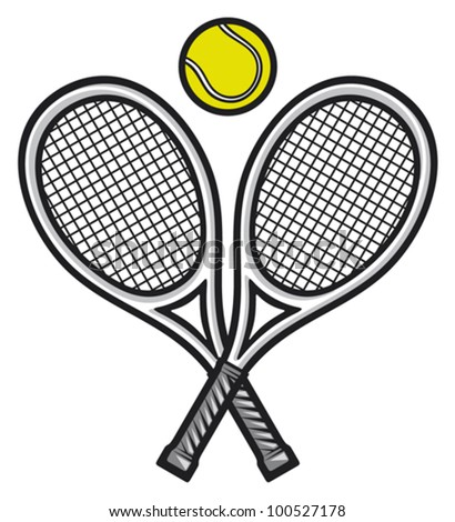 tennis rackets and ball (tennis design, tennis symbol) - stock vector
