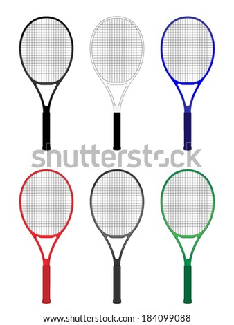 Tennis Rackets in Different Colours Black White Blue Red Gray Green - stock vector