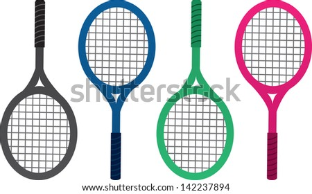 Tennis rackets isolated in different colors  - stock vector