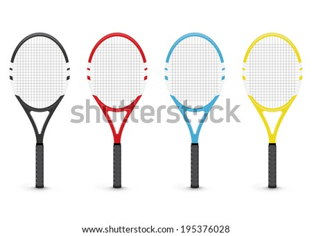 Tennis rackets, isolated on white background - stock vector