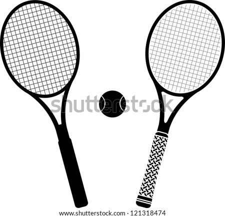 tennis rackets. stencil and silhouette. vector illustration - stock vector