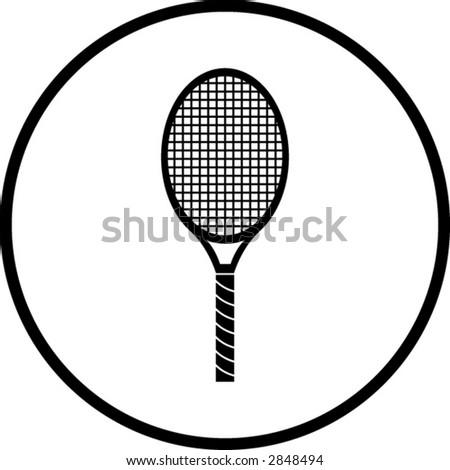 tennis racquet symbol - stock vector
