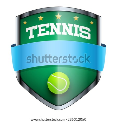 Tennis Shield badge. The symbol of the sports club or team. Vector Illustration isolated on white background. - stock vector