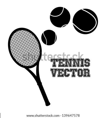 tennis silhouette over cream background vector illustration - stock vector
