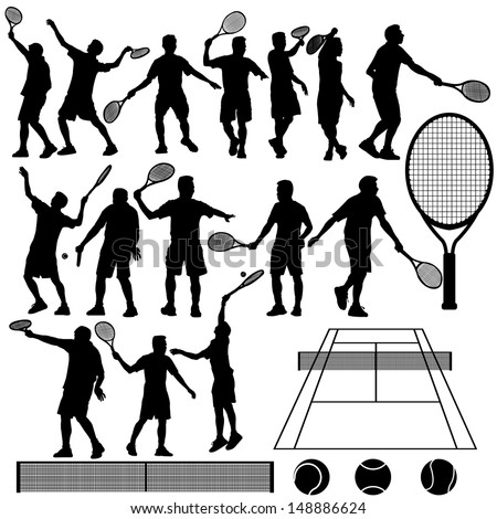 Tennis Silhouette Vector - stock vector