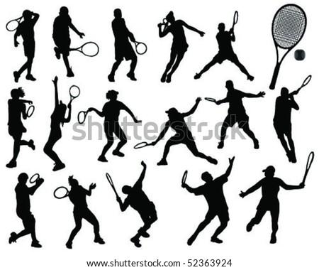 tennis silhouette-vector - stock vector