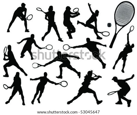 tennis silhouette 8-vector
