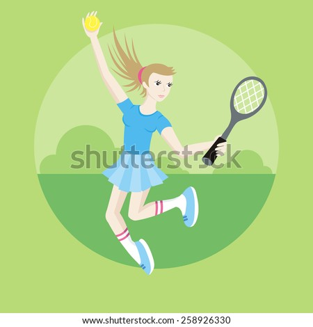 Tennis sport concept with item icons. Portrait of sporty girl tennis player with racket in flat design cartoon style - stock vector