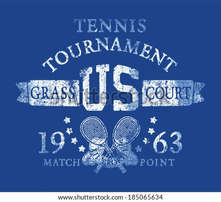 Tennis tournament, Vintage artwork for sports wear in custom colors, grunge effect in separate layer  - stock vector