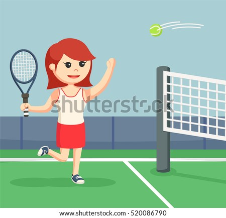 tennis woman player smashing