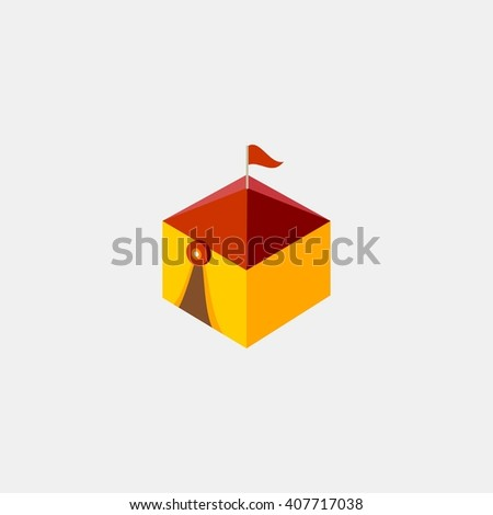 tent amusements park isometric. Amusement park icons. amusement park abstract isolated vector illustration. - stock vector
