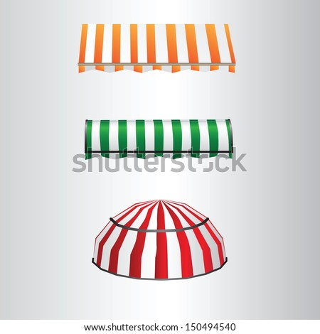 Tent away from direct sunlight over the windows and doors. Vector illustration. - stock vector